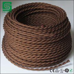 Vintage цвета DIY поверните экранирующая оплетка ткань гибкий кабель провод кабеля питания