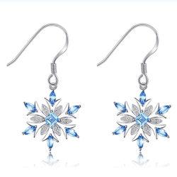 925 Sterling Silver brincos de Floco de neve para as mulheres belas jóias de moda com óxido de zircónio cúbico