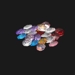 2 つの穴の付いた、色付きの透明 K9 クリスタル八角形プリズムビーズ