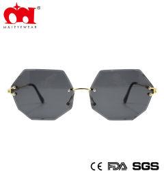 Оптовая торговля моды многоугольные солнцезащитные очки для использования вне помещений торговой марки металлические солнечные очки для женщин УФ400 (WSM901001)