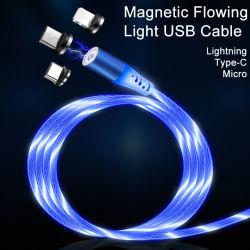 De manier koelt 3 in 1 Magnetische het Laden Kabel voor Androïde Type C, de Kabel van de Verlichting USB voor Appel