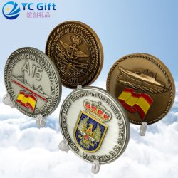 Custom Zinc Alloy Antique Sliver Bronze 친환경 챌린지 코인(Coin Us) 미 해군 명예 상 트로피 메탈 코인스, 비행기 모델 공급 중국의 배지