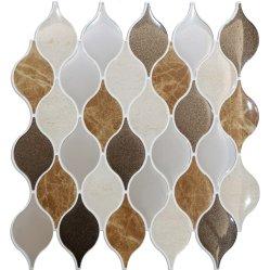 Brown em mármore com mosaicos Imprimir auto-colante azulejos de parede descasque e Stick Renovação painel contra salpicos