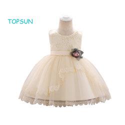 後輩の新婦付添人の不足分のイブニング・ドレスと結婚する小さく大きい女の子の夏の花のアップリケのチュチュの服の最初聖餐