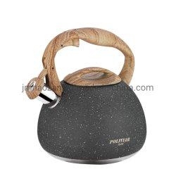 Natürliches Steinende mit hölzerner Muster-Griff-lauter Pfeife-Nahrungsmittelgrad-Edelstahl-Teekanne
