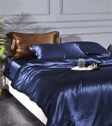 Atacado 100% Mulberry seda jogos de cama 4 peças seda roupa de cama Conjunto de capas de edredão de folhas