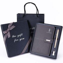 هدية كمبيوتر دفتري من الجلد الطبيعي من نوع A5 من الجلد من نوع PU مخصص قم بالتعيين باستخدام القلم وUSB