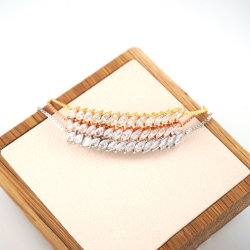 Oliva inclinado ornamento de cristal Pulsera Rosa de Oro Plata pulsera de oro 2020 nueva moda