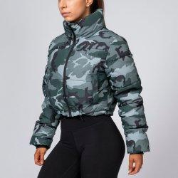 Fashion femmes militaires Veste Zipper Outwear manteaux d'hiver femelle de l'Armée de camouflage vert Vintage haut vestes de récolte