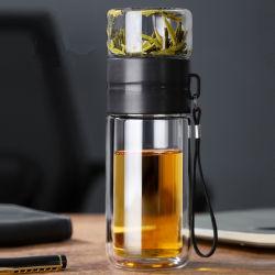 cadeau de promotion de grade alimentaire bouteille d'eau en verre double paroi pour le thé