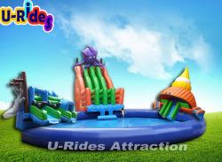 巨大で膨脹可能なゲームのタコおよび鮫イベントのための膨脹可能な移動式水公園水スライド