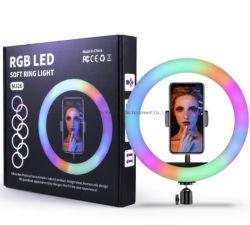 RGB de 10 polegadas. Suporte circular de 26 cm/transmissão em directo/suporte para telemóvel/3 suporte móvel/luz LED/suporte com corrente ativa/suporte circular/anel de luz/anel de luz RGB de 10 polegadas
