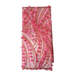الجودة العالية Yiwu المورّد أرخص الأسعار 3D زهرة مطرزة Lace تصميم فخم بأسلوب نحاسي ثلاثي الأبعاد من القماش لزينة حفلات الزفاف