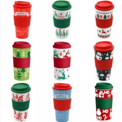 크리스마스 작풍 두 배 플라스틱 커피 잔 주문 로고 지원