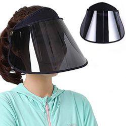 日曜日バイザーの女性雨帽子雨バイザーの[アームカバーと]自転車の帽子の紫外線切口Upf50 +紫外線保護日曜日の保護広い縁の広い帽子の黒