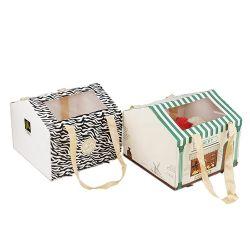 キャンデーチョコレートのためのPVCペットWindowsのかわいい紙箱との家の形の携帯用Foldable