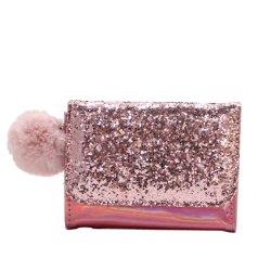 Rosa claro com cintilante Senhoras Wallet Cartão de couro caso o cartão de crédito com POM