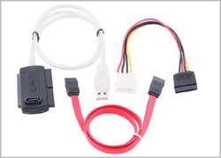 """2USB USB 2.0 pour SATA/IDE 2,5""""/Câble de 3,5"""" avec adaptateur secteur"""