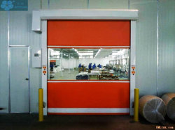 أبواب مغلاق البكرات عالية السرعة من PVC الصناعية، باب دوار سريع مصنوع من البلاستيك التلقائي