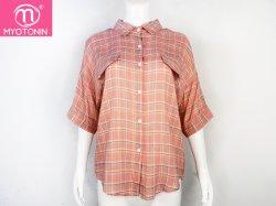 Fashion Shirt Long Plaid femmes Turn-Down Rose à manches courtes col chemise Blusas de Mujer Plaid chemisiers pour femmes