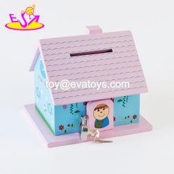 Nuevo diseño lindo de la casa de madera de forma de Banco de la moneda para los niños a ahorrar dinero W02A278