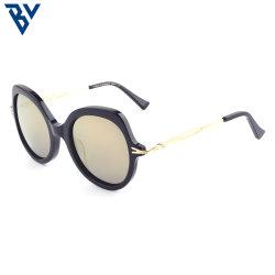 BV OEM personalizar un estilo único de la tortuga bastidor gris Gran Ojo de Gato gafas de sol Gafas de Lente amarilla de acetato de moda de brazo de metal Marco Elipse Demi mujer gafas de sol 2021
