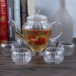 De Vastgestelde Hand van de Koffie van het Glas van het Theestel van de Gift van Europa van de uitvoer - de gemaakte Pot van de Thee Pyrex