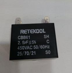 Cbb61 AC 450 В прямоугольник с двумя провод черного цвета электродвигателя конденсатор