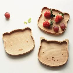 Eco-Friendly Placa de madeira madeira Bandeja Alimentos Bandeja de restauração para crianças