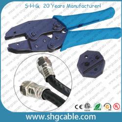 Rg59 RG6 Rg11の同軸ケーブルFのひだのコネクター(NT-H301X)のための十六進ひだのツール