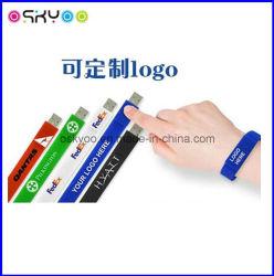 Индивидуальный логотип рекламных подарков силиконовый USB Flash Drive браслет браслеты