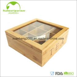 아크릴 덮개를 가진 티백 단단한 대나무 상자