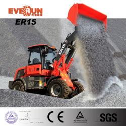 Lader van het Wiel van de Aandrijving van Everun Er10 de Vierwielige 1ton Voor met Emmer