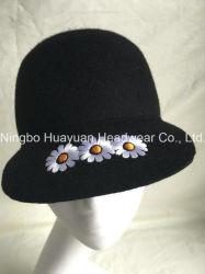 100% feutre de laine de l'hiver style : noir Couleur Broderie Daisy Emb Casquette de baseball cap équestre