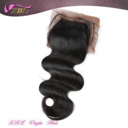 100% バージンペルーの毛の閉鎖の皮の色の絹のベースの閉鎖