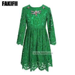 Principessa Lace Dress delle ragazze con il vestito da cerimonia nuziale di cristallo della farfalla