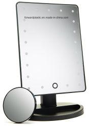 BSCI, CMA, Sqp, Wal-Mart certifié en usine, miroir de maquillage, miroir de courtoisie éclairé avec 21 voyants DEL et écran tactile de la gradation