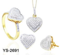 Monili nuziali del cuore del diamante dell'argento dei monili di modo impostati per le cerimonie nuziali