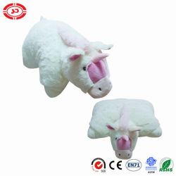 Unicorn blanc pur coton doux en peluche farcies PP 2en1 oreiller