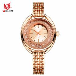 Верхней Части марки Роскошь золота Crystal Diamond сетка из нержавеющей стали браслет дамы Quartz запястья смотреть № V627