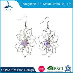 Form höhlen heraus Kreis-Blumen-Art-Band-künstlichen Schmucksache-Ohrring aus (07)