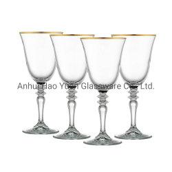 Heißer Verkaufs-Goldfelgen-Wein-Kristallglaswaren für Hochzeitsfest und Hotel