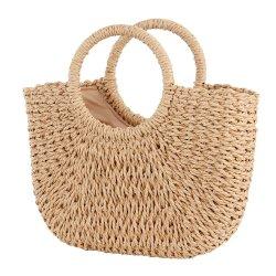 熱い販売浜袋の円形の夏のわらは円のバックルの美しい編まれたバスケット小さい正方形袋を袋に入れる