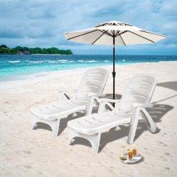 Outdoor Lounge de dobragem de plástico PP cadeira de praia com Rodas