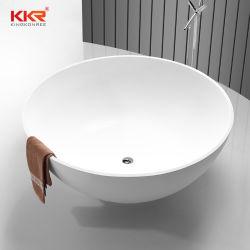 大理石の白い石造りの固体表面の円形の浴槽