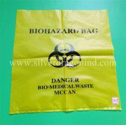 Custom Jaune Rouge PEHD sac en plastique Déchets Biohazard de déchets médicaux l'emballage