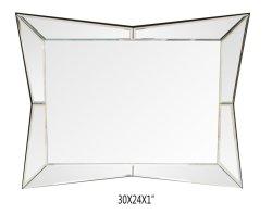 Большие Октагона в рамке на стену наружного зеркала заднего вида с изогнутой скошенная рама наружного зеркала заднего вида Premium Silver резервное копирование стекло зеркала в противосолнечном козырьке, спальня, ванная комната или зеркально прямоугольник Shap