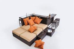 Stab-Möbel-Metallaluminiumrahmen-moderner hoher Tisch-im Freienmöbel mit Stab-Schemeln