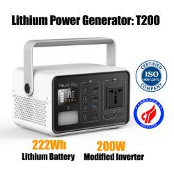 60000mAh 200Wのリチウムイオン電池の修正された正弦波携帯用太陽Geneartor