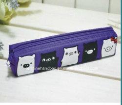 Mignon 3 poche à fermeture éclair pour ordinateur portable non tissé liant l'école Sac de crayon